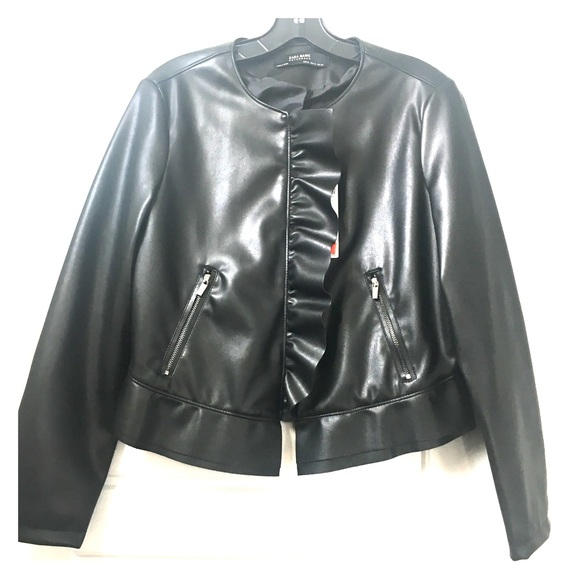 3b1f33e3 Zara Jackets & Coats   Faux Black Leather Cropped Jacket   Poshmark
